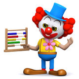 3d Clown with abacus Royalty Free Stock Image
