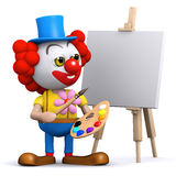 3d Clown the artist. 3d render of a clown painting a canvas on an easel Stock Photo