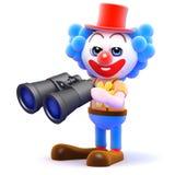 3d Clown binoculars. 3d render of a clown with binoculars Stock Photography
