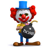 3d Clown bomb. 3d render of a clown holding a bomb Royalty Free Stock Photography