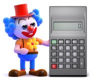 3d Clown calculates Stock Photography