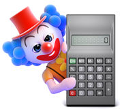 3d Clown calculator Royalty Free Stock Images