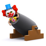 3d Clown cannon Royalty Free Stock Photo