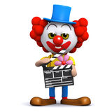 3d Clown clapperboard Stock Afbeelding