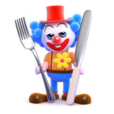 3d Clown cutlery Stock Images
