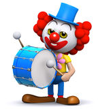 3d Clown drummer Stock Image