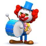 3d Clown drummer. 3d render of a clown banging a big bass drum Stock Image