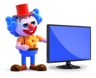 3d Clown flatscreen tv Royalty Free Stock Photos