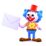 3d Clown gets mail. 3d render of a clown holding an envelope Stock Image