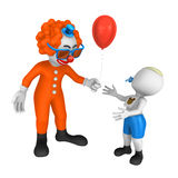 3d clown gives a balloon to the boy. Royalty Free Stock Image