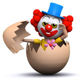 3d Clown hatches from an egg Stock Images