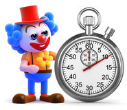 3d Clown heeft een chronometer Stock Foto