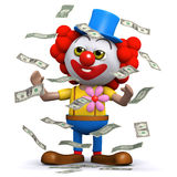 3d Clown hits the jackpot Royalty Free Stock Photos
