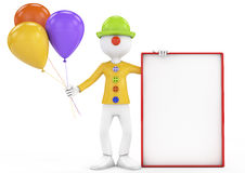 3d clown holding blank board and ballons over white background Royalty Free Stock Photos