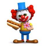 3d Clown houdt van hotdogs Stock Afbeelding