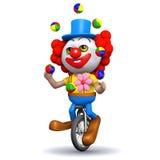 3d Clown jongleert met op een unicycle Stock Afbeeldingen