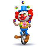 3d Clown juggles on a unicycle Stock Images