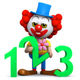 3d Clown learns to count Royalty Free Stock Photo