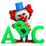 3d Clown leert zijn alfabet Stock Afbeelding