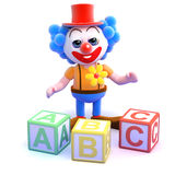 3d Clown literacy Royalty Free Stock Photos
