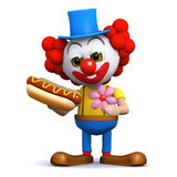 3d Clown loves hot dogs Stock Image