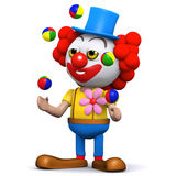 3d Clown loves to juggle Stock Image