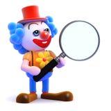 3d Clown magnifies Stock Photography