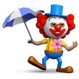 3d Clown met een paraplu Royalty-vrije Stock Afbeeldingen