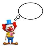 3d Clown met gedachte ballon Stock Afbeeldingen