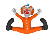 3d clown met glazen Gelukkige sprong Royalty-vrije Stock Foto