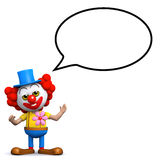 3d Clown met toespraakbel Royalty-vrije Stock Afbeeldingen
