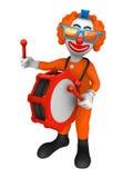 3d clown met trommel Royalty-vrije Stock Afbeelding
