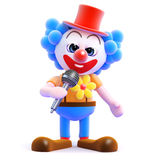 3d Clown on the mic Stock Photo