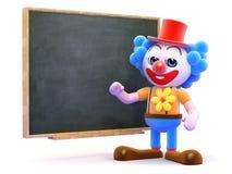 3d Clown onderwijst bij het bord Royalty-vrije Stock Foto's