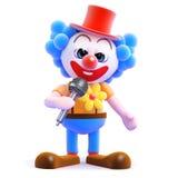 3d Clown op mic Stock Foto