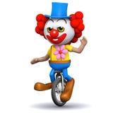 3d Clown op unicycle het golven Stock Afbeelding