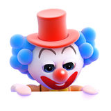3d Clown peeps over Royalty Free Stock Images
