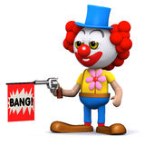 3d Clown plays a prank with a toy gun Royalty Free Stock Images
