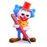 3d Clown schrijft Stock Afbeelding