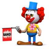 3d Clown speelt een streek met een stuk speelgoed kanon Royalty-vrije Stock Afbeeldingen