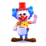 3d Clown tea break Royalty Free Stock Photos