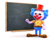 3d Clown teaches at the blackboard Royalty Free Stock Photos