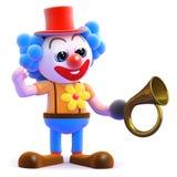 3d Clown tert zijn hoorn toe Stock Fotografie