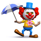 3d Clown with an umbrella Royalty Free Stock Images