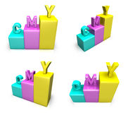 3D CMY graph icon. 3D Icon Design Series. Royalty Free Stock Images