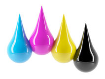 3d CMYK paint drips Royalty Free Stock Photos