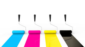 3D CMYK paint rollers Stock Photo