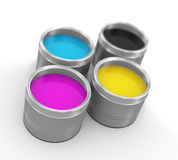 3d cmyk printing color paint bucket cans. 3d illustration of cmyk cyan, magenta, yellow, and key(black) printing color paint bucket cans Royalty Free Stock Photos