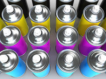 3d CMYK Spray paint cans Royalty Free Stock Photos