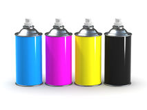 3d CMYK Spraycans. 3d render of four spray cans with CMYK colours Stock Photo